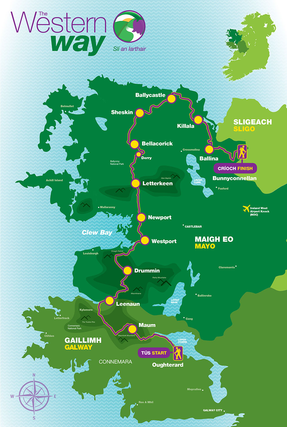 Map Of The West Of Ireland.Trail Sections Map The Western Way West Of Ireland The